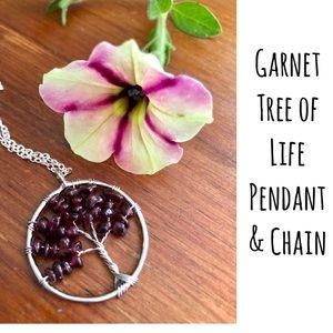 Garnet Necklace Tree ofLife Pendant & Chain